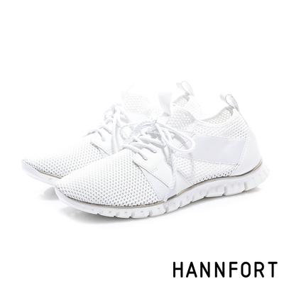 HANNFORT ZERO GRAVITY 牛皮流蘇淺口休閒鞋 女 白