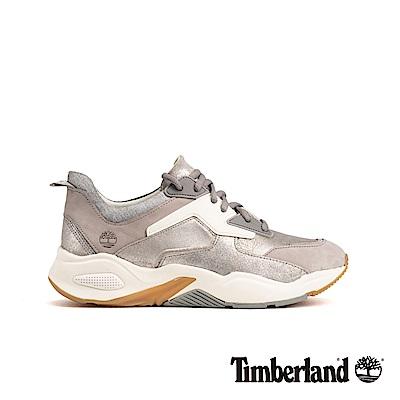 Timberland 女款銀色絨面革厚底運動鞋|A1Y7J