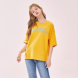 SEMIR森馬-潮流印花標語寬袖T恤-女
