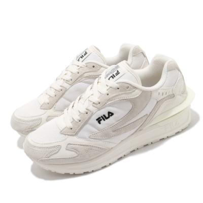 Fila 休閒鞋 Zagato TR 運動 男女鞋 復古 麂皮 質感 厚底 球鞋 情侶穿搭 米白 灰 4C625U050