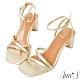 Ann'S一雙不對稱設計的方頭粗跟涼鞋-金(版型偏小) product thumbnail 1