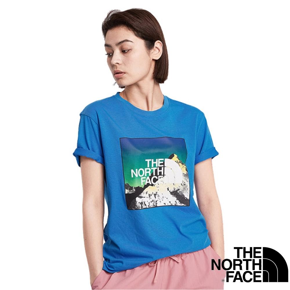 美國 The North Face 情侶款 彷棉混紡快乾吸濕短袖圓領T恤(亞洲版型)_澄湖藍 V