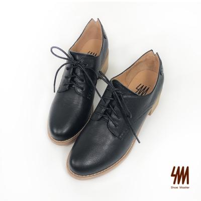 SM-英倫風真皮牛津木紋跟鞋(人氣黑)