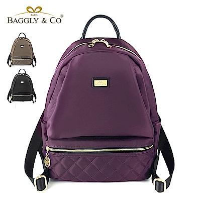 法國BAGGLY&CO 質感菱格紋真皮尼龍防盜後背包(三色)