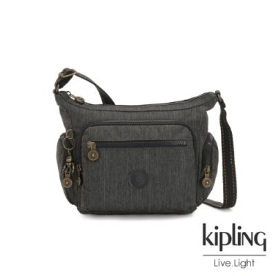 Kipling 復古質感丹寧黑多袋實用側背包-GABBIE S