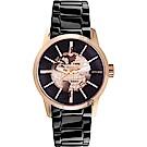 RELAX TIME RT62系列 人動電能地球腕錶-玫塊金框x黑/45mm