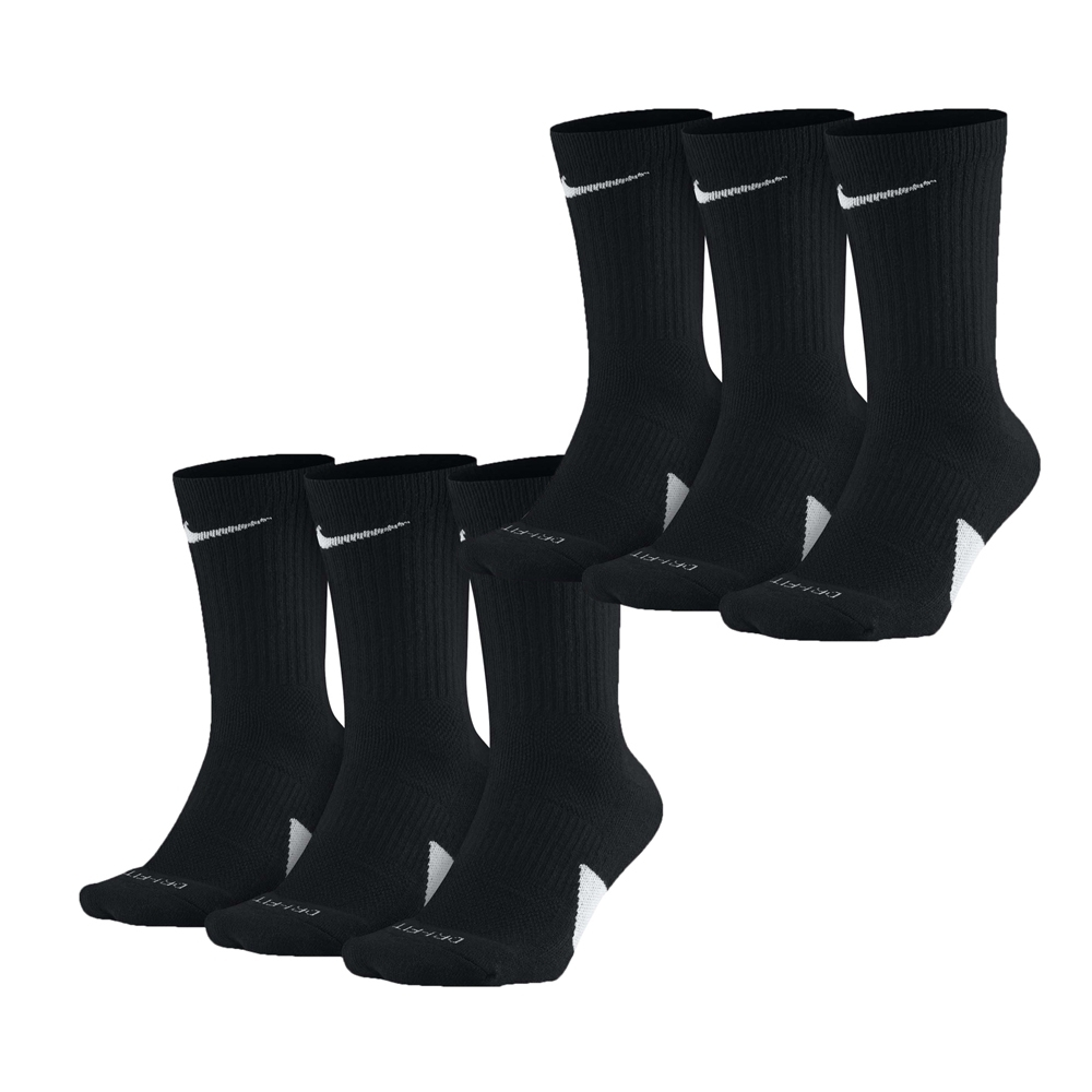 NIKE 籃球鞋 高筒襪 Elite Basketball Socks 6 Pairs 1 Pack 黑色 白色 SX7627010_2 SX7627100_2