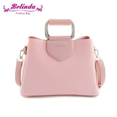 【Belinda】安卡拉簡約方型鐵環手提側背包(粉色)