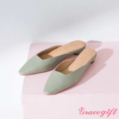 Grace gift-素面方口圓跟穆勒鞋 綠