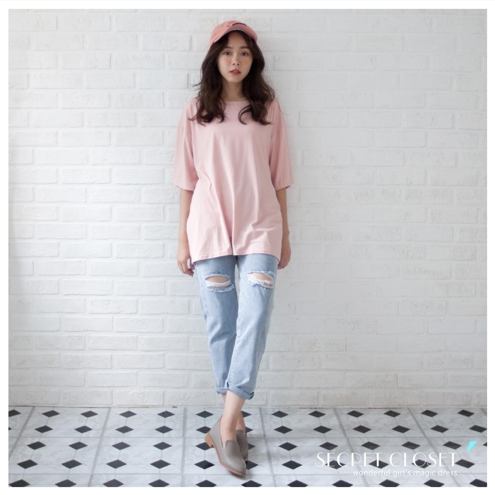 Secret Closet-純色素面圓領寬袖上衣 (粉紅色系)