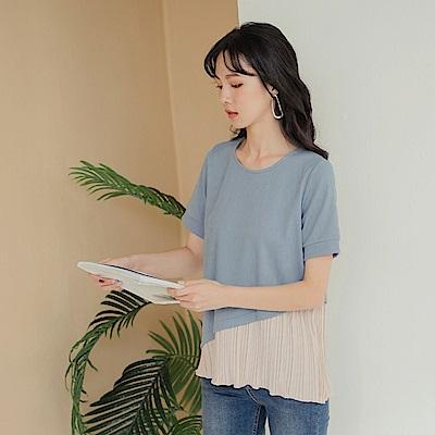 簡約質感壓褶拼接親膚舒適短袖上衣-OB大尺碼