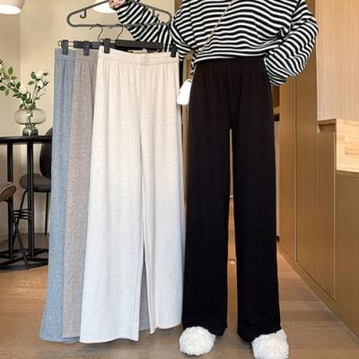 La Belleza素色鬆緊腰抽繩棉絨條坑條落地闊腿褲寬褲