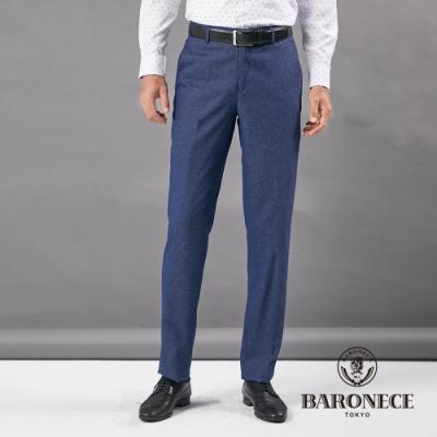BARONECE 百諾禮士休閒商務  男裝 彈力平口合身版西褲--藍色(1206842-35)