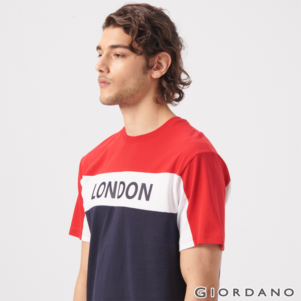 GIORDANO 男裝UNION JACK系列短袖T恤-03 紅/白/藍