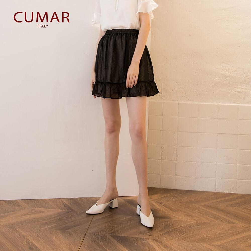 【CUMAR】透視點點荷葉短-褲裙(二色)