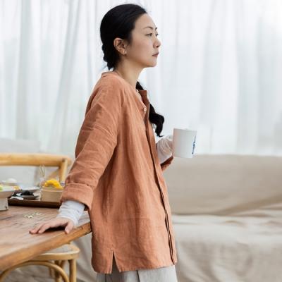 旅途原品_心閒_亞麻基礎襯衫- 粉橘/藏藍