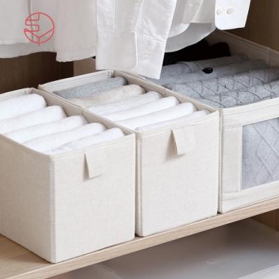【日本霜山】棉麻布摺疊式分類收納盒-S