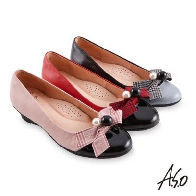 A.S.O 職場通勤 健步通勤甜美飾扣娃娃鞋-紅