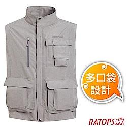 瑞多仕 男款 輕量休閒多口袋背心(立體袋款_DA2385 灰卡其麻灰色