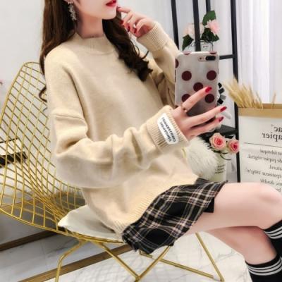 La Belleza假兩件圓領針織毛料下擺拼接格紋襯衫袖口標籤針織毛衣
