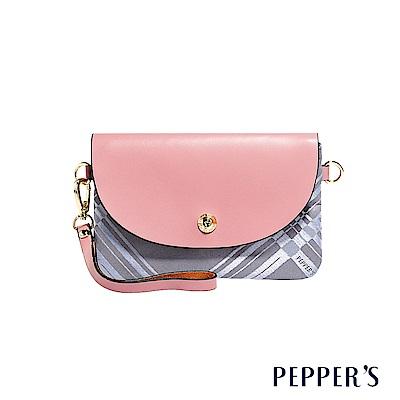 PEPPER`S Diamond 綾格紋緹花手拿包 - 玫瑰粉