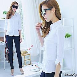 EELADY大尺碼-素面優質OL七分袖襯衫(二色)