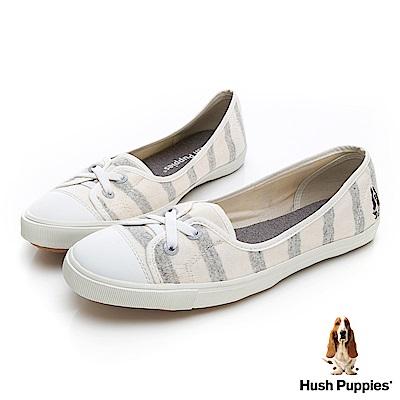 Hush Puppies 清爽條紋咖啡紗娃娃鞋-灰色
