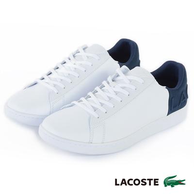 LACOSTE 女用真皮休閒鞋-白/藍