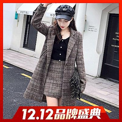 時時樂限定-78折-翻領格紋外套-短裙兩件套裝-R