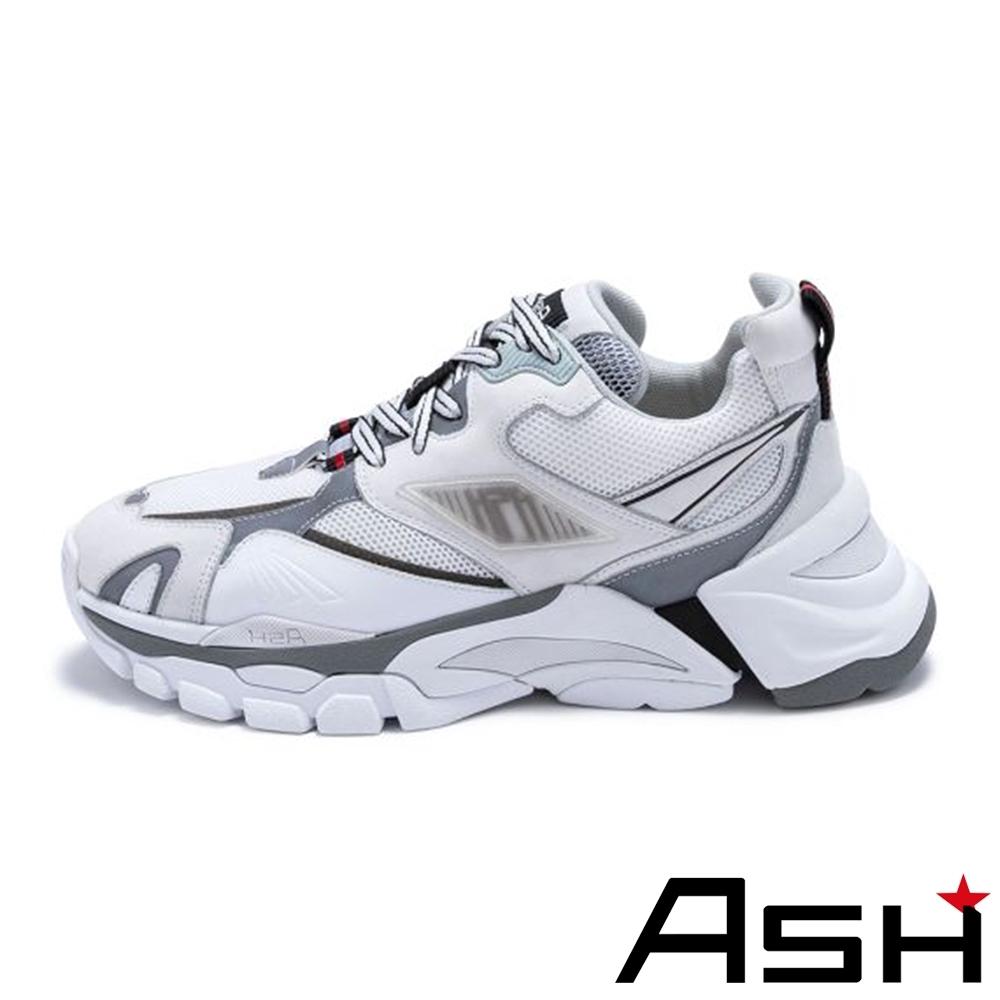 ASH-FLEX系列潮流休閒運動拼接撞色增高老爹鞋-白
