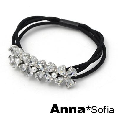 AnnaSofia 環圈晶四葉草 純手工彈性髮束髮圈髮繩(銀底系)