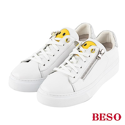 BESO 俏皮萌主 黃色笑臉拉鏈休閒鞋~白