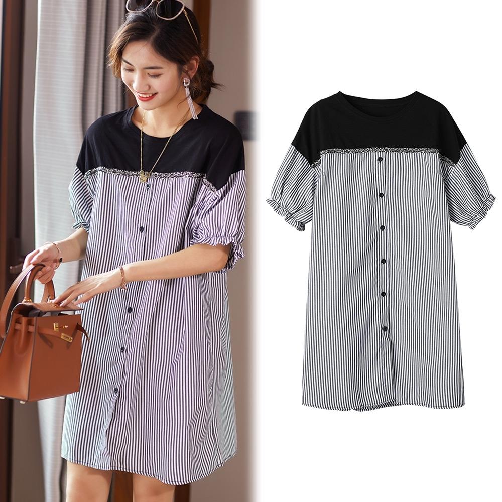 【韓國K.W.】(預購) 鈕扣條紋簡約寬鬆時尚洋裝