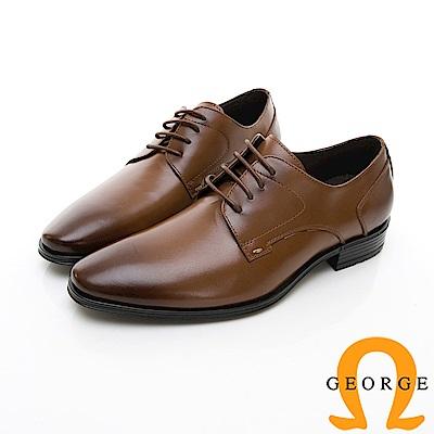 【GEORGE 喬治皮鞋】輕量系列 漸層綁帶柔軟紳士皮鞋-棕色