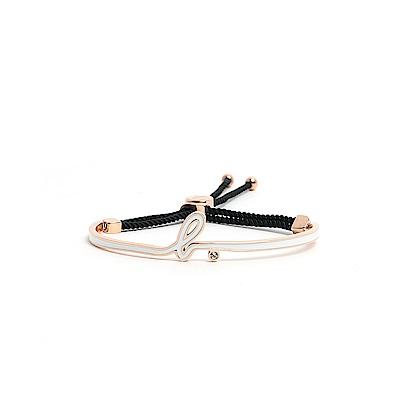 agnes b. Logo玫瑰金白色琺瑯手環(黑棉繩)