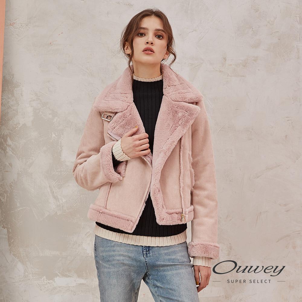 OUWEY歐薇 超暖皮草仿麂皮造型騎士外套(粉) @ Y!購物