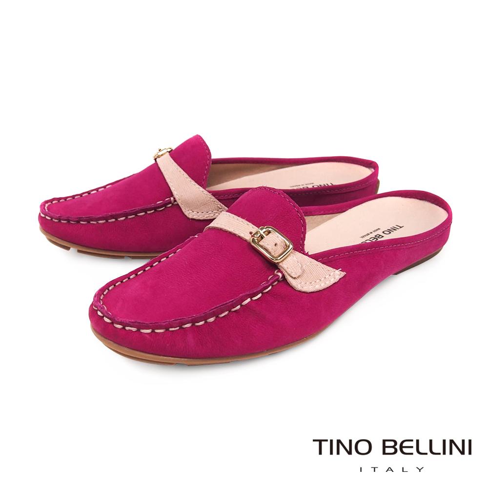 Tino Bellini 巴西進口休閒莫卡辛MIX穆勒平底鞋 _ 桃紅