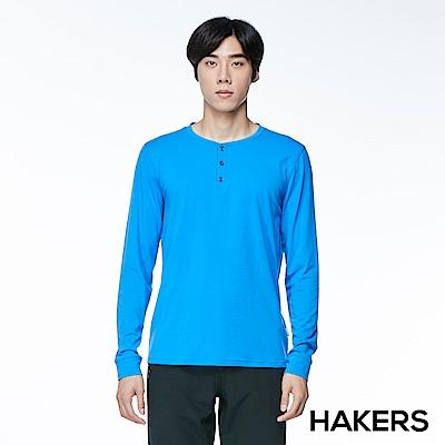 【HAKERS】男款 圓領開襟休閒衫(中藍)