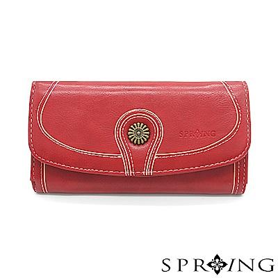 SPRING-日光系列-釦式長夾-寶石紅