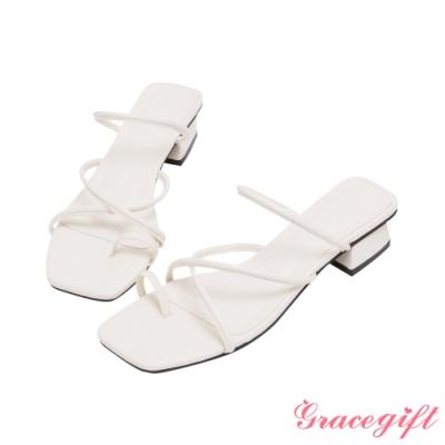 Grace gift-交叉細帶套趾低跟涼拖鞋 米白