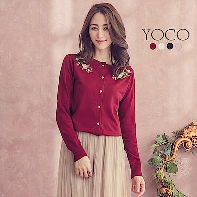 東京著衣-yoco 粉嫩花朵刺繡珍珠釦多色針織外套-S.M.L(共四色)