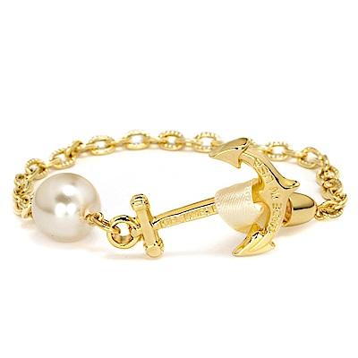 Kiel James Patrick 珍珠墜飾金色船錨金屬手環 金色緞帶