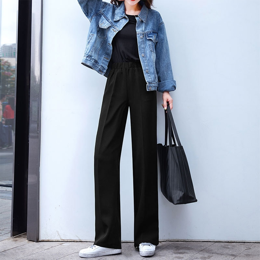 初色  厚版高腰拖地褲-黑色-(M-2XL可選)