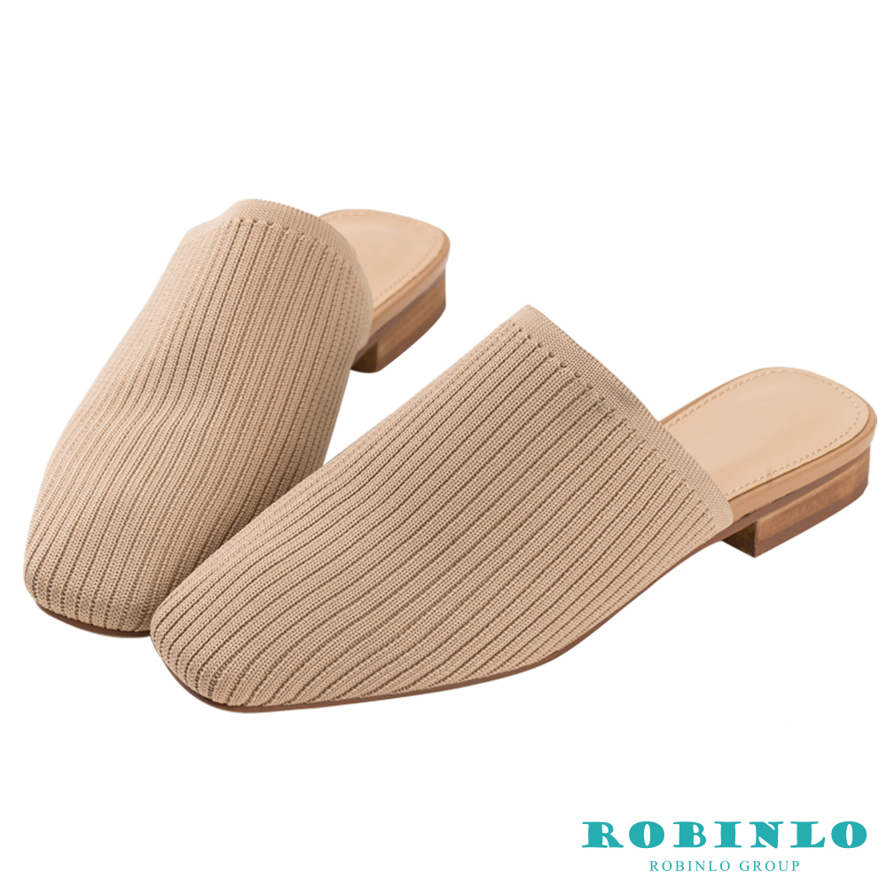 Robinlo 美式休閒方頭穆勒拖鞋 杏