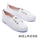 休閒鞋 MELROSE 甜美氣質珍珠綁帶厚底休閒鞋-白