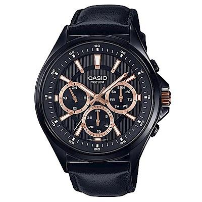 CASIO 經典黑三針三眼皮帶腕錶(MTP-E303BL-1A2)玫瑰金時刻/47.5