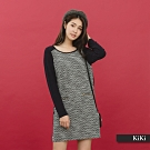 【KiKi】名媛風拼接長版-上衣(二色)