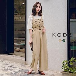 東京著衣-KODZ 時尚復古波浪造型排釦縮腰連身寬褲-S.M.L(共兩色)
