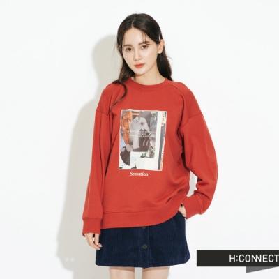 H:CONNECT 韓國品牌 女裝-特色圖印大學T-棕