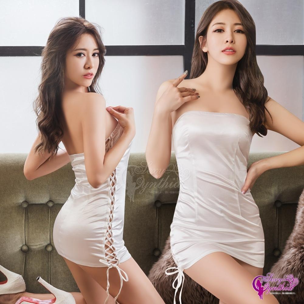 Sexy Cynthia 角色扮演 側邊綁帶賽車女郎緊身洋裝角色扮演服-白F